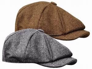 WOOL TWEED GATSBY NEWSBOY CAP MENS BROWN BLACK HAT GOLF ...