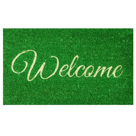 Green Welcome Mat home more green welcome door mat 17 in x 29 in
