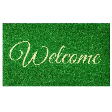 doormats and more home more green welcome door mat 17 in x 29 in
