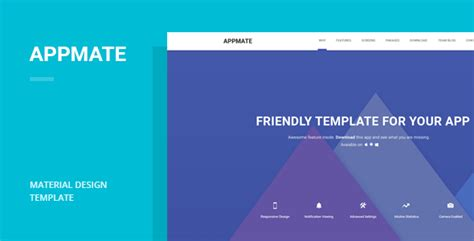 Themeforest Gravity Material Mobile App Template by Appmate Material Design App Landing Template By