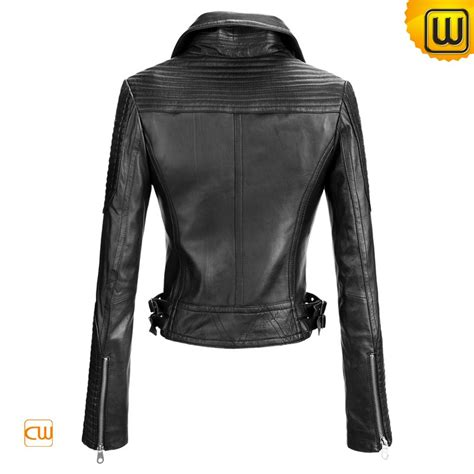 black motorbike jacket women black motorcycle leather jacket cw608102