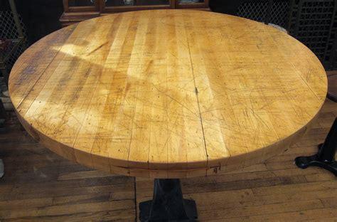 round butcher block table top refurbished round butcher block table with heavy cast iron