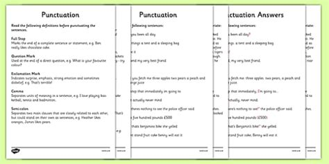 punctuation worksheets and answers ks2 punctuation worksheet activity sheets punctuation