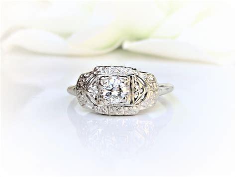 deco engagement ring 0 25ct wedding ring 14k white