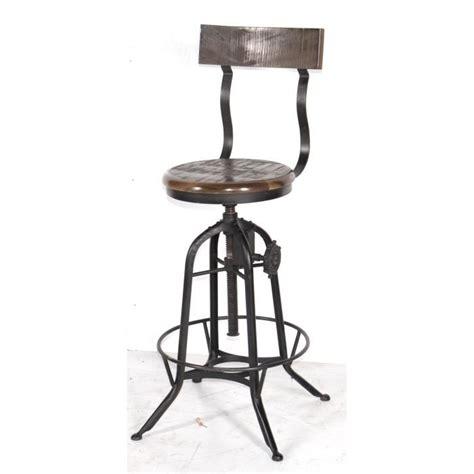 tabouret de bar industriel r 233 glable avec dossier atelier grey meuble house noir achat vente