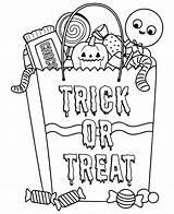 Halloween Coloring Pages Candy Printable Printables Trick Treat Bag Games Printablee Via sketch template