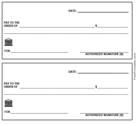 free printable checks template 6 best images of printable blank checks free printable blank check template for free