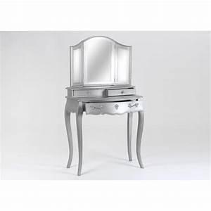 Coiffeuse 3 Miroirs : coiffeuse tiroirs murano 80 cm en bois new silver ~ Teatrodelosmanantiales.com Idées de Décoration