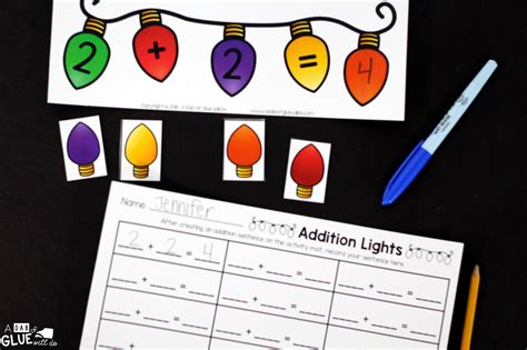 christmas lights addition printable math worksheets a