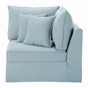 Canapé Bleu Maison Du Monde : angle de canap lin bleu gris enzo maisons du monde ~ Teatrodelosmanantiales.com Idées de Décoration