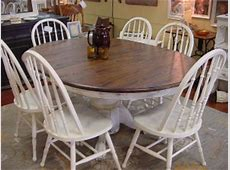 DISTRESSED SOLID OAK ROUND TABLE, LEAF & SIX MATCHING