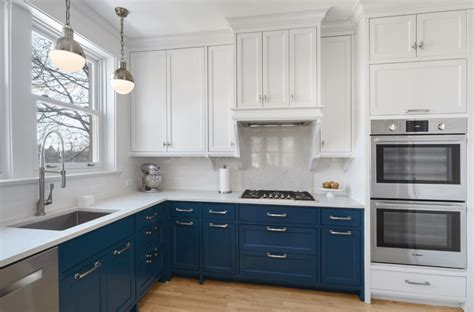 navy blue and white kitchen cabinets paint it blue combining colour ideas for your simple