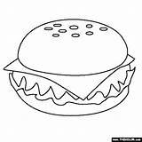 Coloring Cheeseburger Fast Burgers sketch template