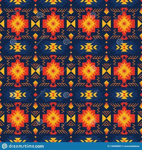 Colorful Aztec Seamless Pattern Ethnic Geometric Ornament