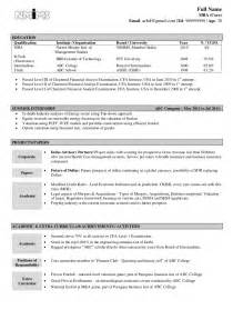 Resume Of Fresher by Sle Resume Fresher
