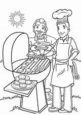 Coloring Printable Barbecue sketch template