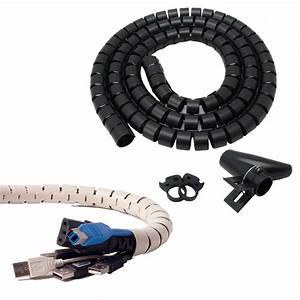 2 5cm Dia  Black  Flexible Cord Cable Wire Organizer Wraps