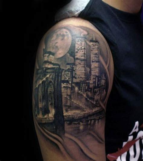 city skyline tattoo designs  men downtown ink ideas