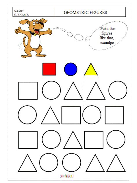 different shapes worksheets for kindergarten pre school education