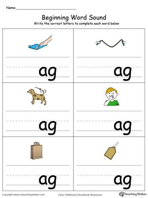 ag word family match letter and write the word beginning word sound ub words in color 28059