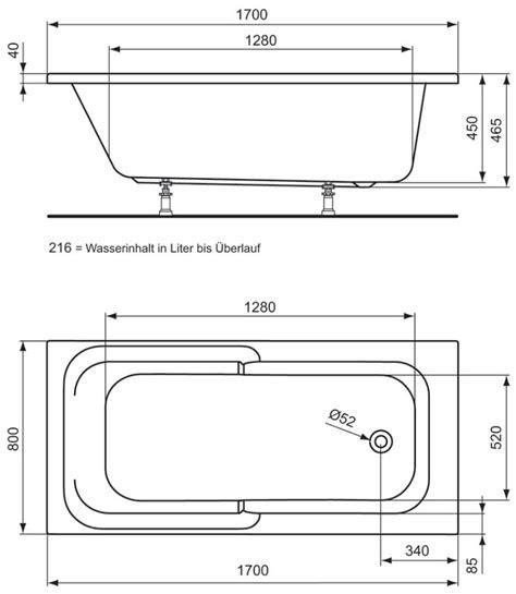 Maße Badewanne Standard by Badewanne Standardmasse