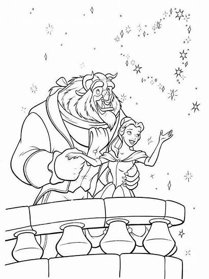 Coloring Pages Belle Beast Beauty Princess Disney