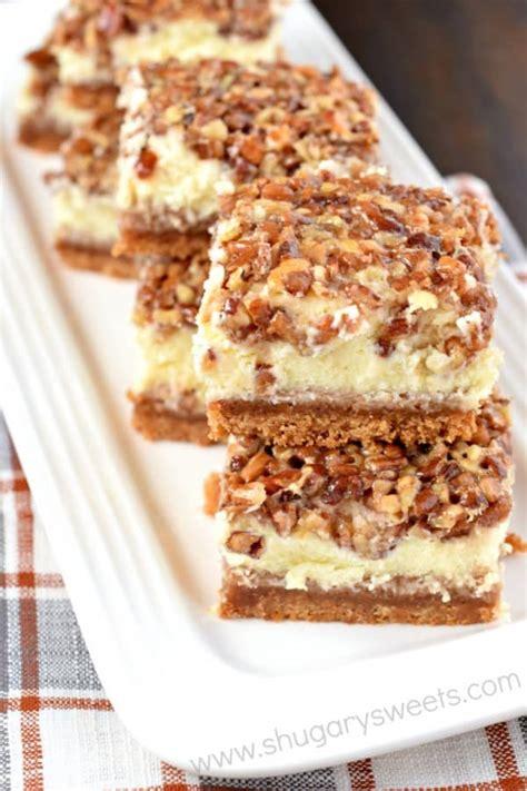 Pecan Pie Cheesecake Bars   Shugary Sweets