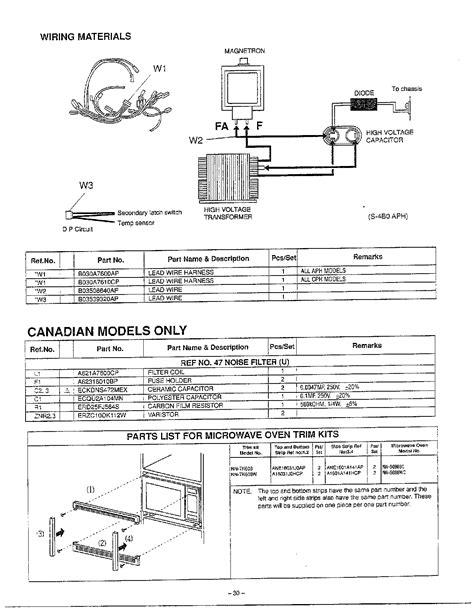 wiring noise filter oven trim kits diagram parts list for nns698ba panasonic parts