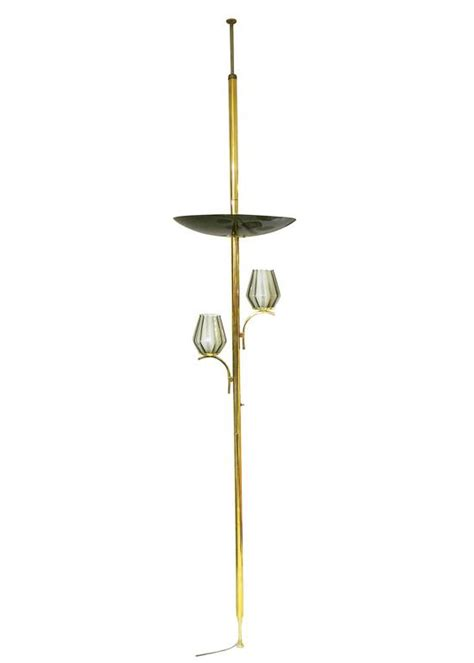 Tension Pole L With Table by Brass Light Floor To Ceiling Tension Pole L For