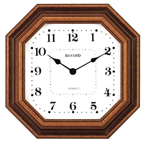 pendule de cuisine horloge murale entourage bois octogonale bayard horloge