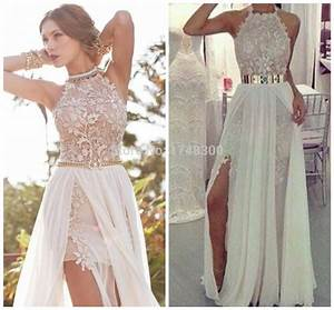 summer beach halter white ivory wedding dresses long With white wedding party dress