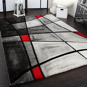 tapis design carreaux moderne fait main coupe incorporee With tapis gris rouge