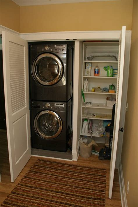 laundry closet stacking front loaders to make the most of