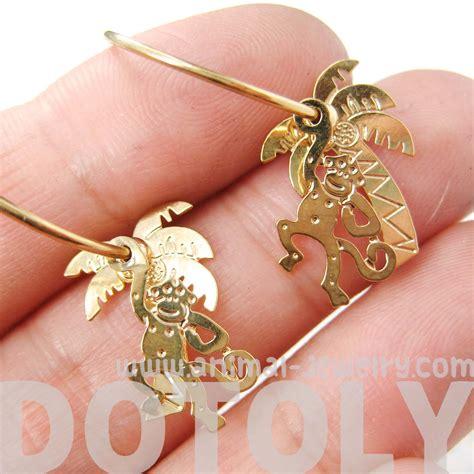 unique monkey  palm tree animal dangle hoop earrings