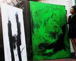 Bild Malen Lassen : gro es gr nes schwarzwei es bild gem lde abstrakt bilder malen lassen kunst der malerei wach ~ Orissabook.com Haus und Dekorationen