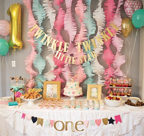 Pink And Gold 1st Birthday Decorations by Pink And Gold Twinkle 1st Birthday