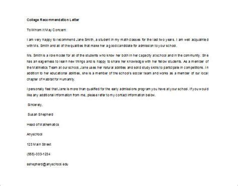 recommendation letter  student  teacher sample