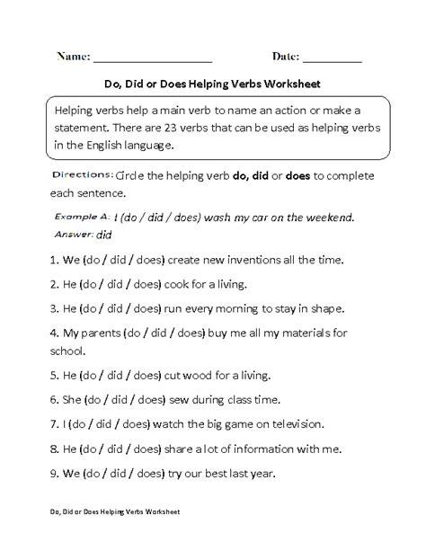 helping verbs worksheets englishlinx board