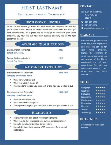 free one page resume template 1 page resume exles