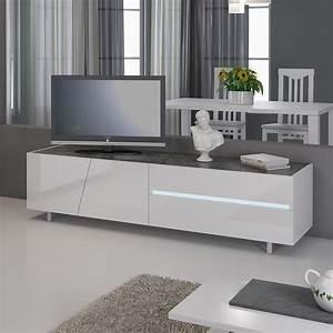 Meuble Laqué Gris : meuble tv avec led gris beton petit banc tv design led blanc laque ~ Dode.kayakingforconservation.com Idées de Décoration