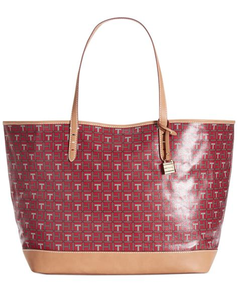 tommy hilfiger monogram coated logo tote  red red multi lyst