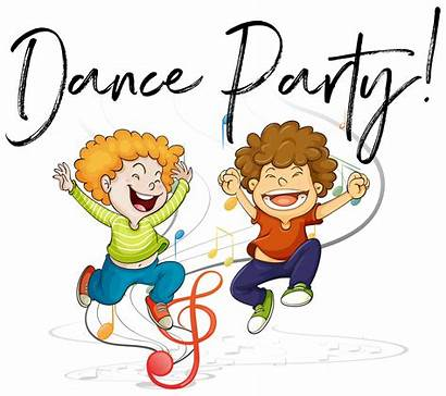 Dance Party Dancing Words Boys Vector Clipart