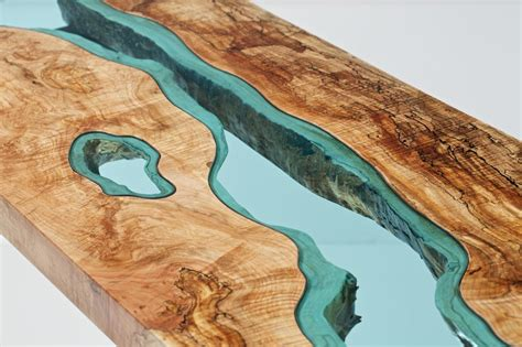 Lake And River Adorned Furniture Of Wood And Glass Lost