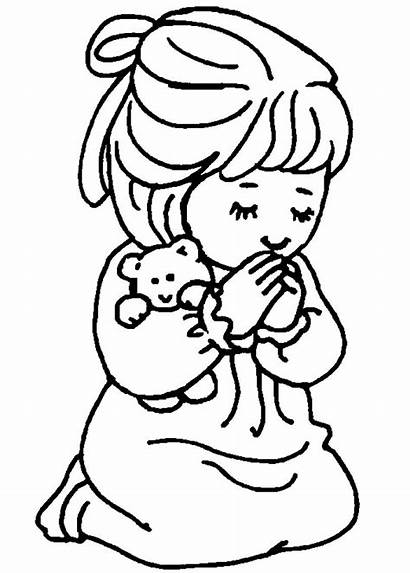 Coloring Children Bible Praying Pages Child Clipart
