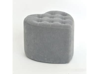 pouf en forme de coeur pouf coeur glam chic velours gris