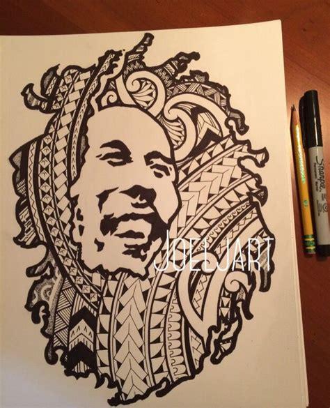 bob marley art  lion shilouett  polynesia tribal