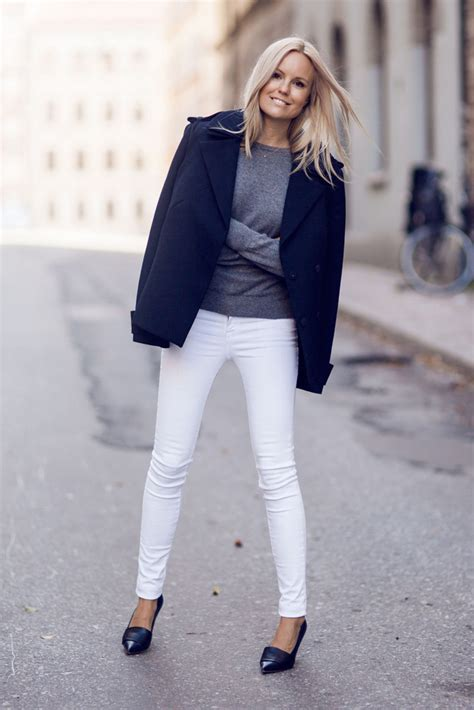 casual outfits  fall   style  white jeans transitioning  summer  fall glamour