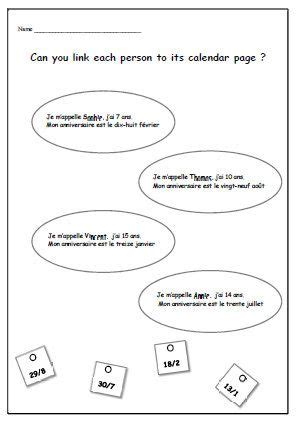 french worksheet kids learning sheet birthday by