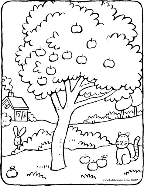 Kleurplaten Appelboom by Appelboom Kiddicolour