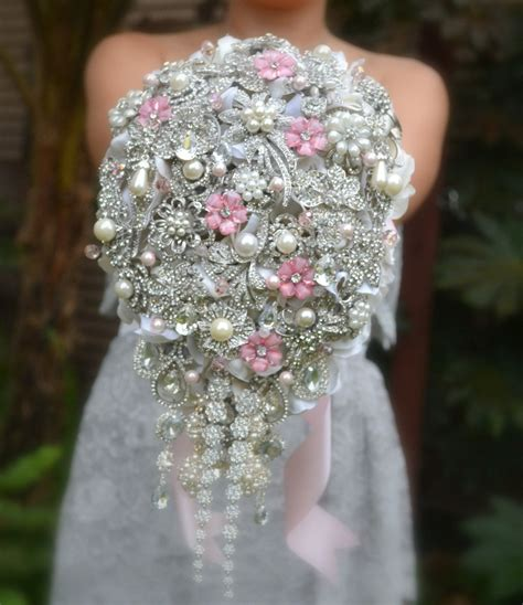 Blush Pink Cascading Brooch Bouquet Beautiful Bouquets